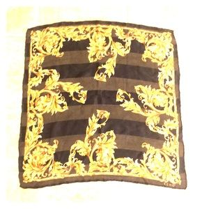 Echo black and gold Florentine silk scarf.